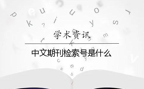 中文期刊检索号是什么